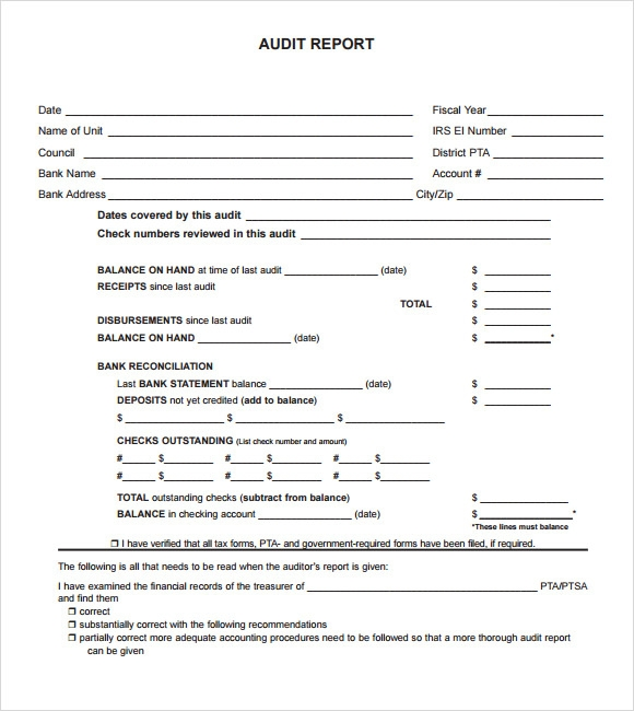 Sample Audit Report Template - Audit program template