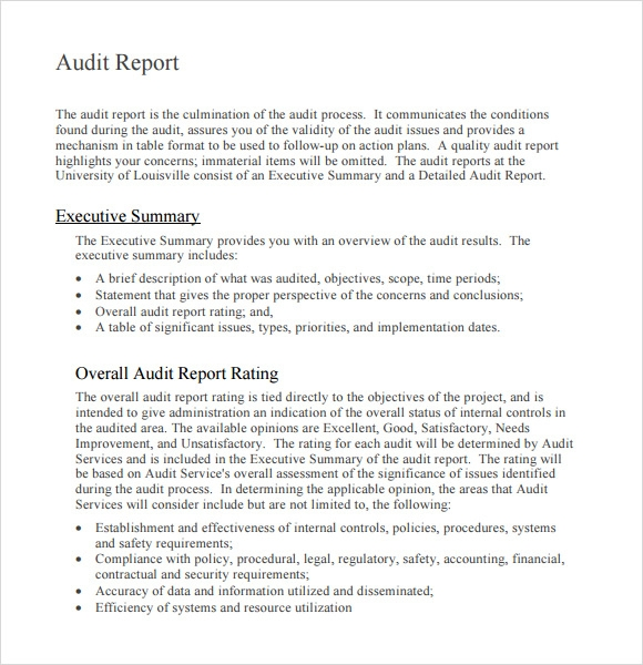 External Audit Report It Audit Report Model And Sample Download