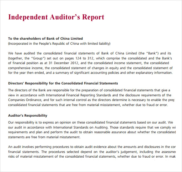 Sample Audit Report 6 Documents in PDF – Auditing Report Format