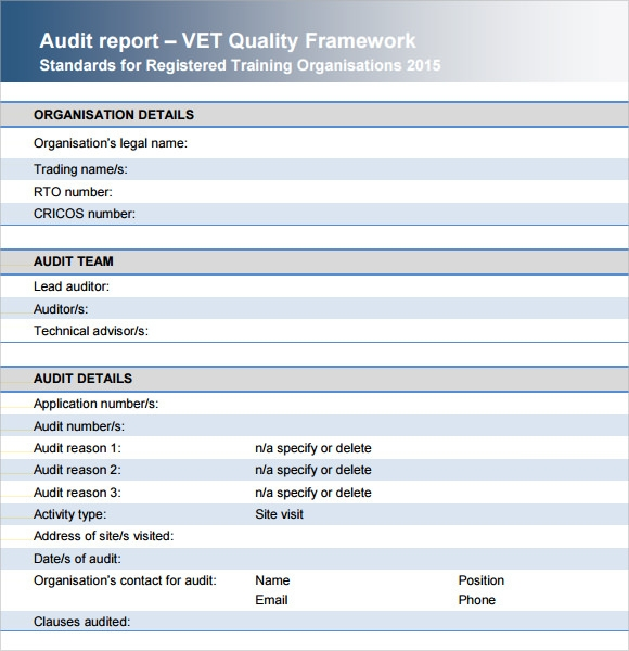 Sample Audit Report   Documents In Pdf