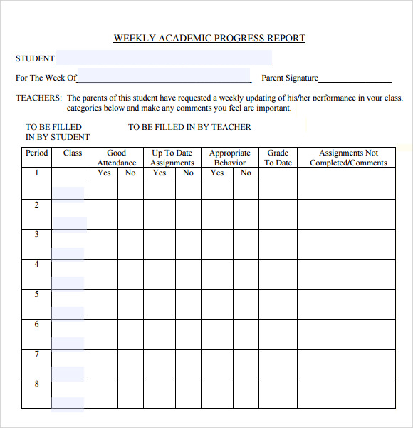 free student weekly progress report template