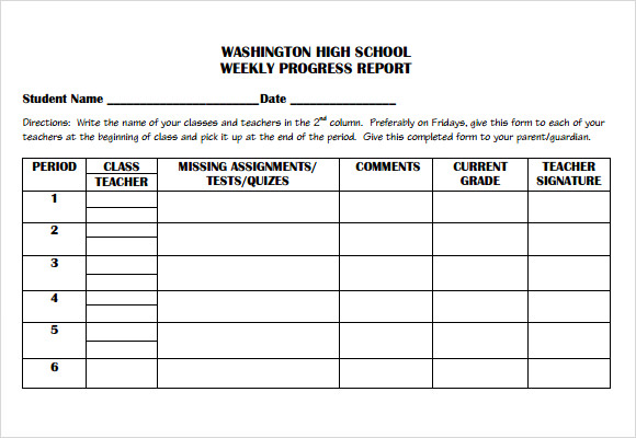 Sample Weekly Progress Report 6 Documents in PDF Word – High School Progress Report Template