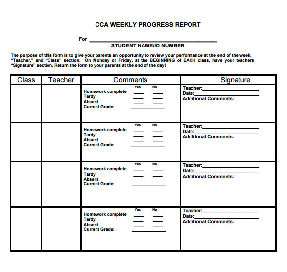 weekly progress report template middle school