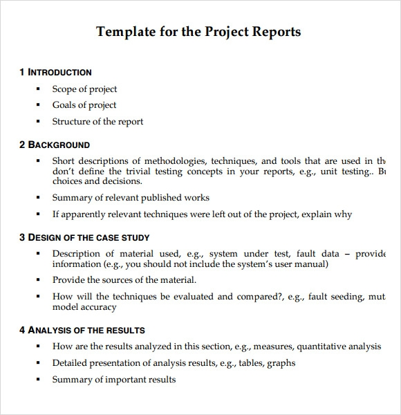 Project Report Template Project Management Status Report Template