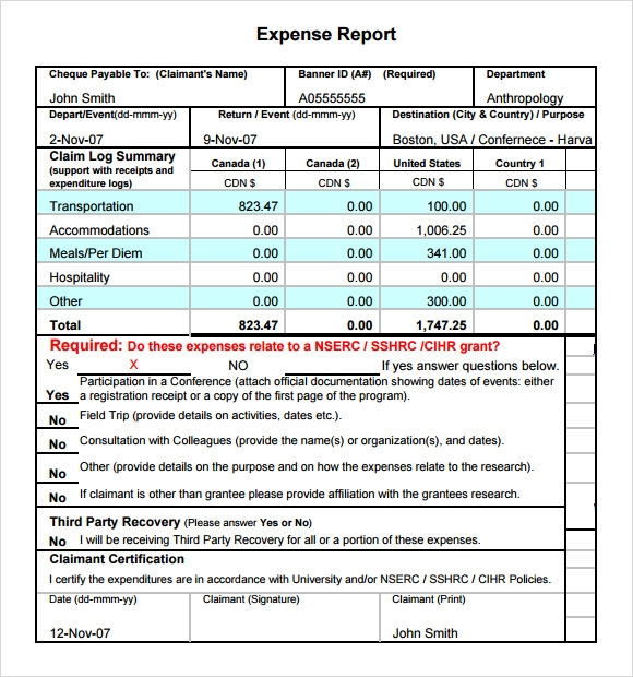 sample expense report template
