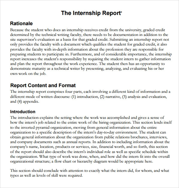 Sample Internship Report - 5+ Download Documents In Pdf