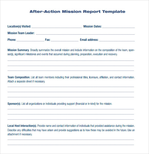After Action Report Free Example