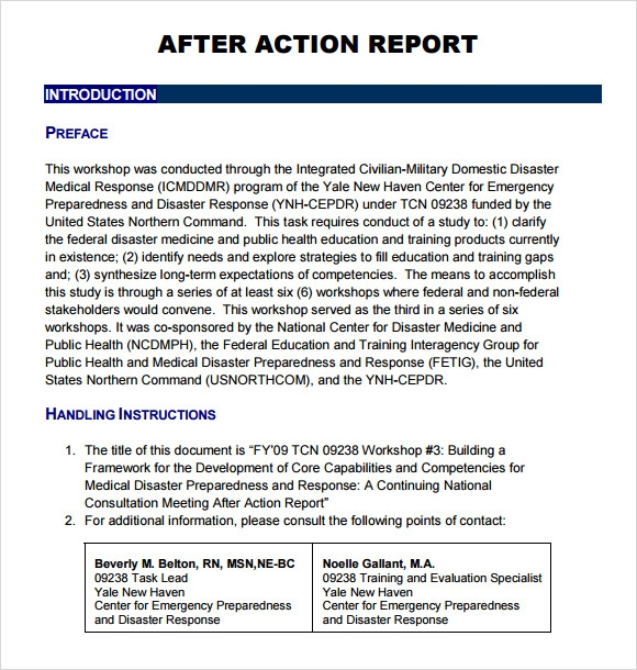 Sample After Action Report Template 6 Documents In Pdf