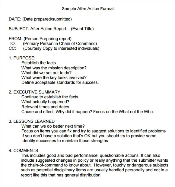 9 after action report samples sample templates for Aar format template