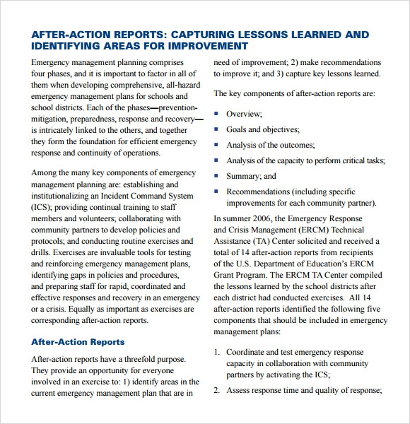 Sample After Action Report   Documents In Pdf