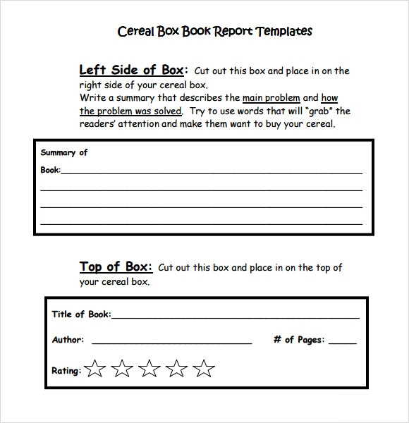 Sample Cereal Box Book Report 4 FormatExample – Book Report Summary Template