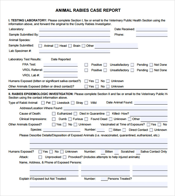 ... Veterinary Forms Templates By Sle Animal Report Template 7 Documents In  Pdf ...