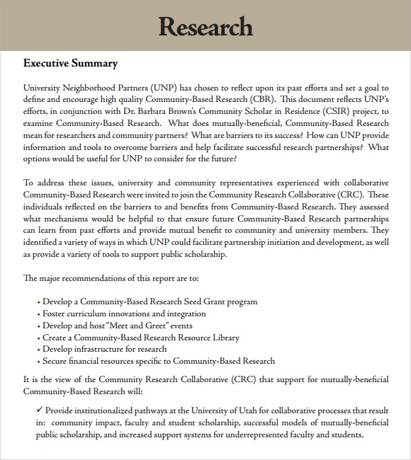 Sample Research Report   Sample Example Format