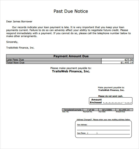 past due letter template past due letter 8 documents in pdf 13756