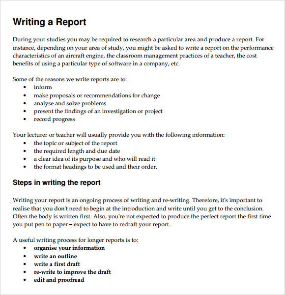 School report writing samples