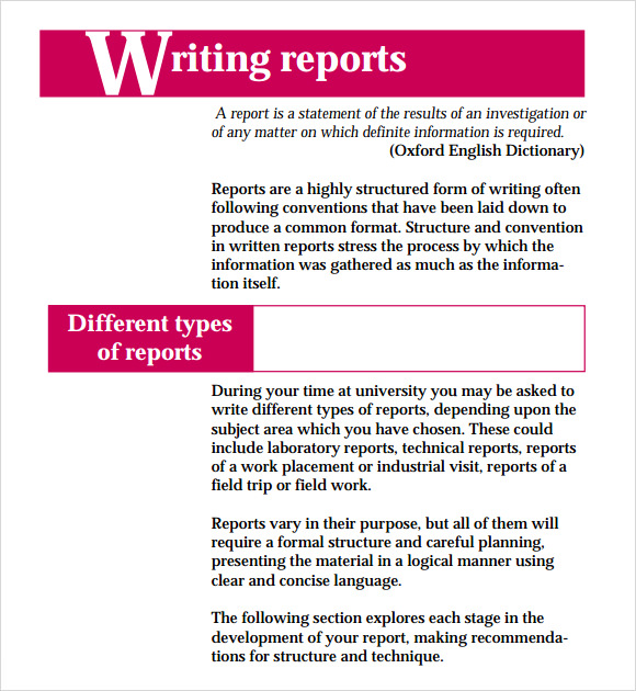 Sample of business report writing