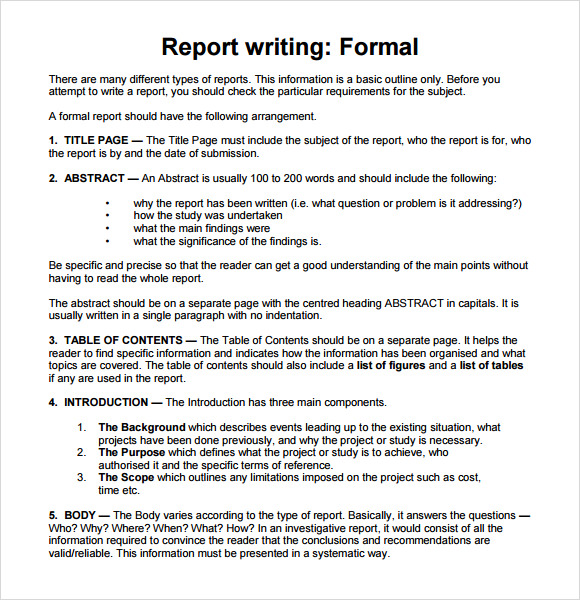sample report writing format