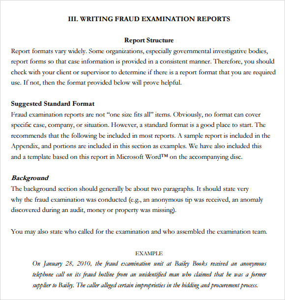 standard report writing format Sample format for a financial report.