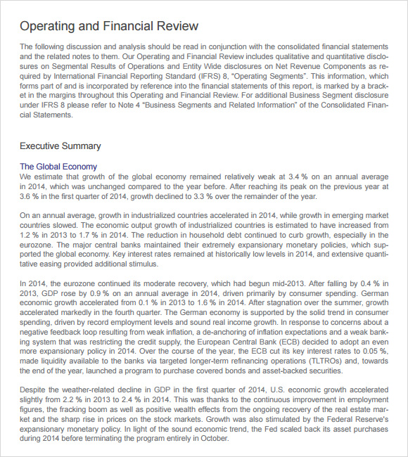 finance report template