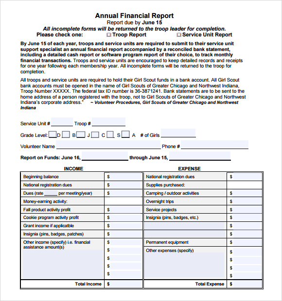 Sample Financial Report   Documents In Pdf
