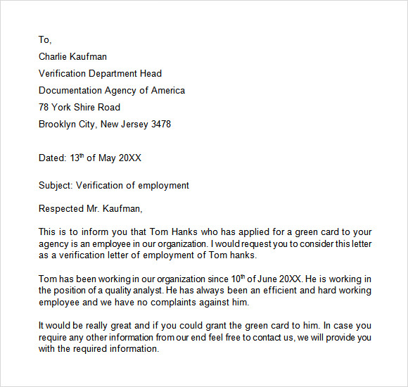 employment verification letter template - Verification Of Employment Sample Letter