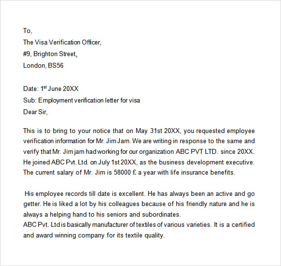 sample proof of employment letter for visa - Verification Of Employment Sample Letter