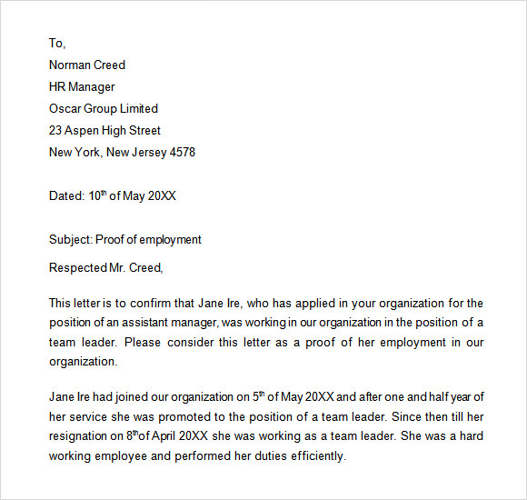 proof of employment letter - Employment Proof Letter