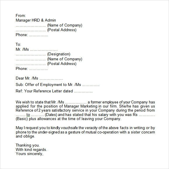 employment verification letter format - Verification Of Employment Sample Letter