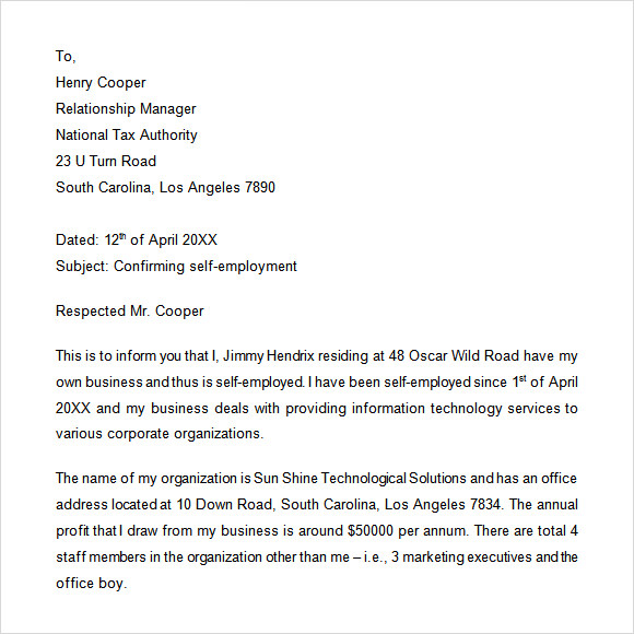 self employment letter - Verification Of Employment Sample Letter