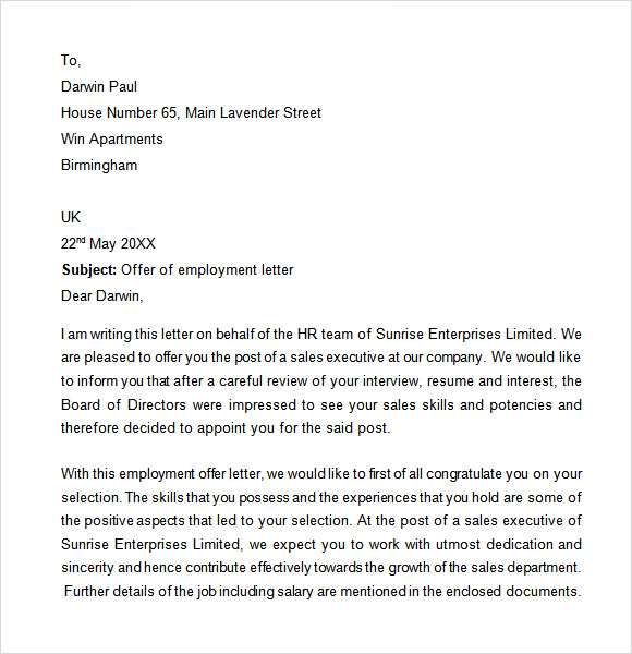 Sample Proof Of Employment Letter - 9+ Download Free Documents In