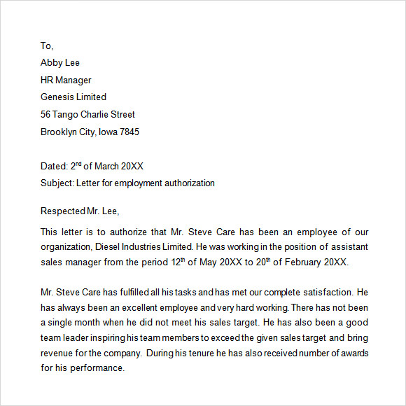 Sample Of Letter Of Employment Application