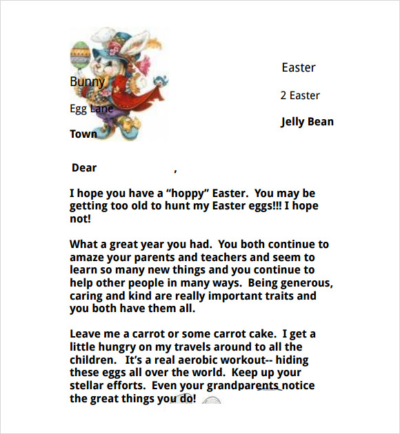 8 easter bunny letters to download for free sample templates for Letter to easter bunny template