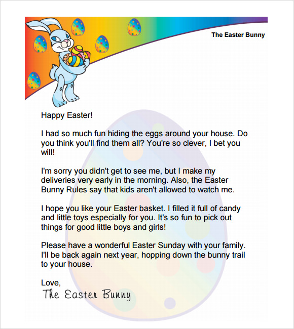 sample easter bunny letter template