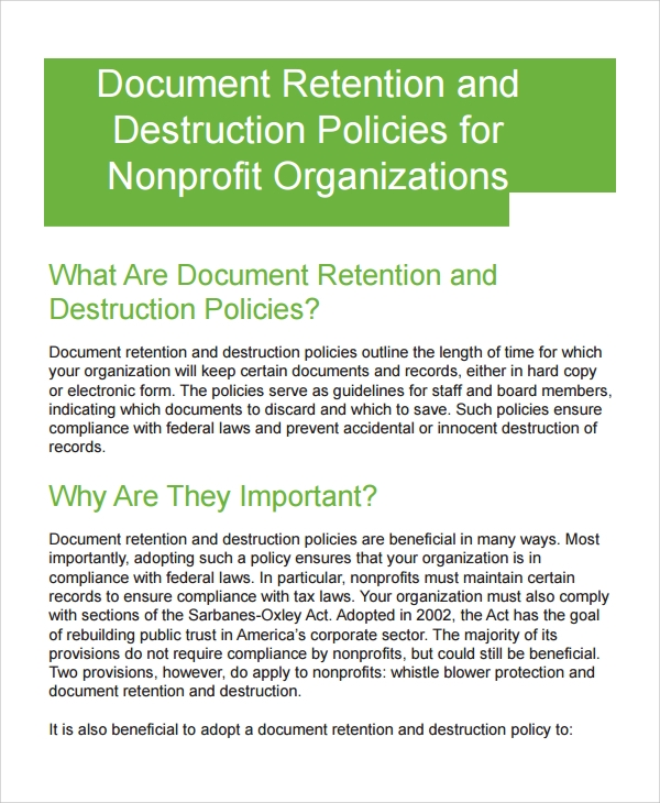 Sample Document Retention Policy   Documents In Word