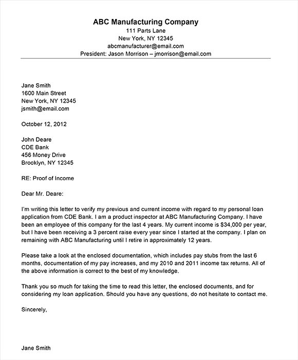 Proof of Income Letter Template - resignation letter format ...