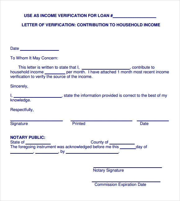Sample Income Verification Letter 5 Free Documents Download in PDF – Sample Income Verification Letter