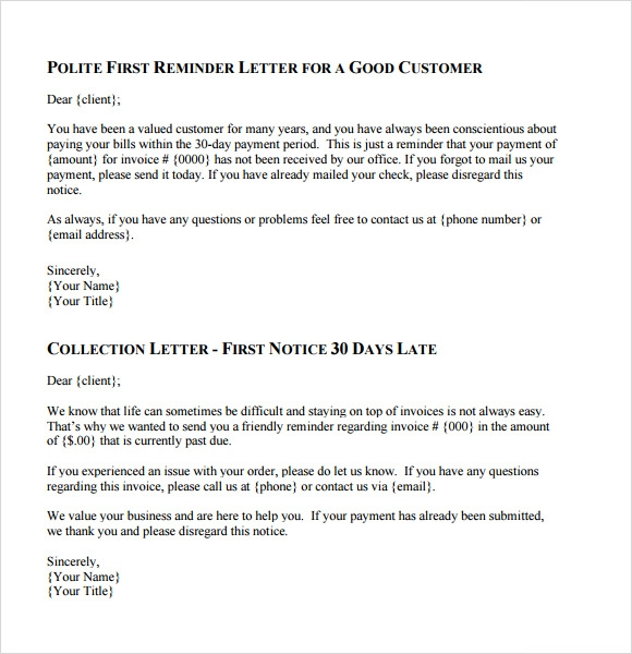 collection letter template 8 collection letter templates for free sample 11219