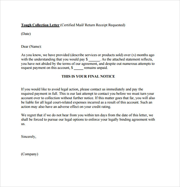 free collection letter template