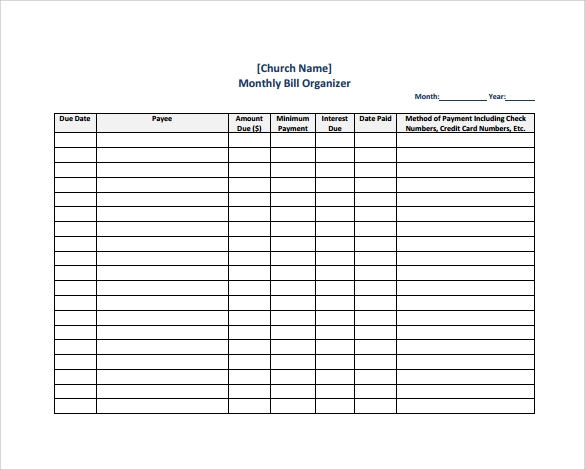 sample bill organizer chart 4 documents in pdf
