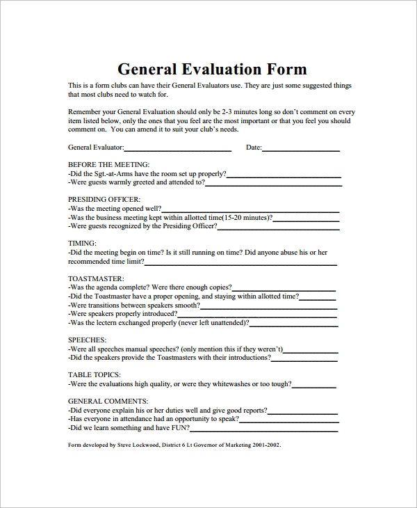 Sample General Evaluation   Documents In Word