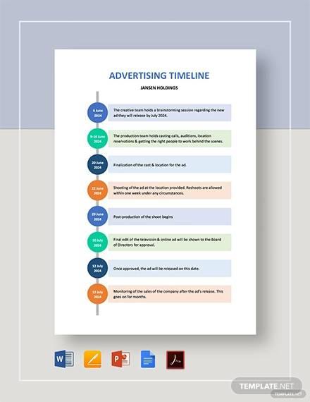 free 6  sample advertising timeline templates in pdf