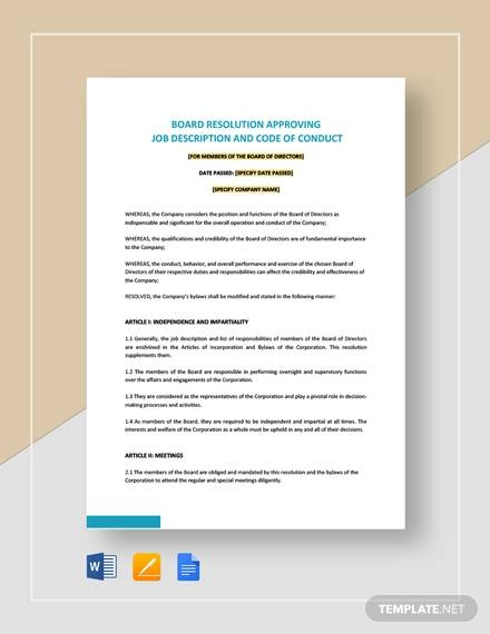 board resolution approving job description code of conduct template