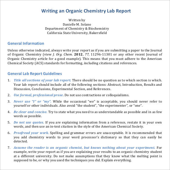 chemistry lab report writing