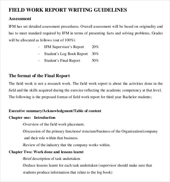 field work report writting guideline