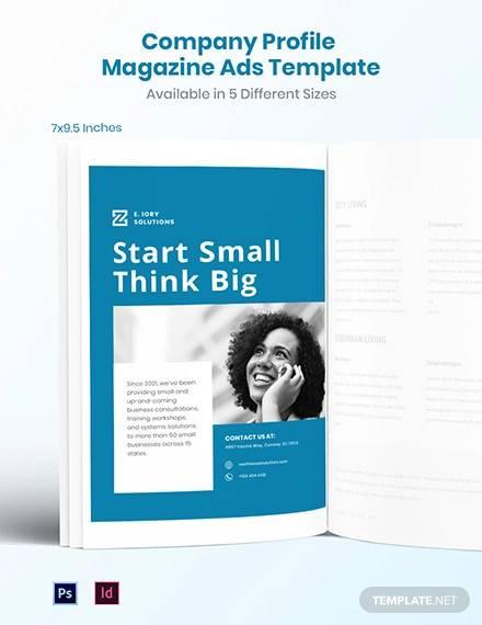 free company profile magazine ads template