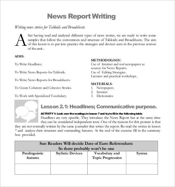 news report writing