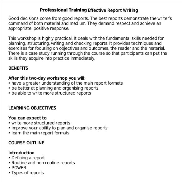 professional training report writing