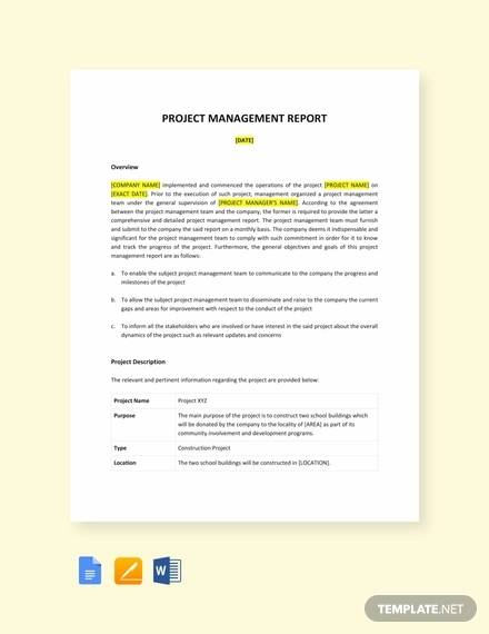 project management report sample templates1