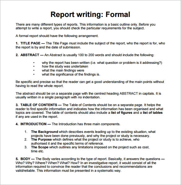 sample for report writing