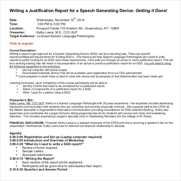 speech report writing